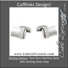 Men's Cufflinks- Stainless Steel with Sterling Silver Inlay