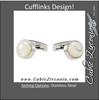 Men's Cufflinks- Stainless Steel with Mother of Pearl
