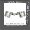 Men's Cufflinks- Stainless Steel with Chain-Link Inpired Center