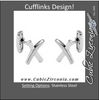 "Men's Cufflinks- Stainless Steel Satin & Polished Cureved ""X"" Design"