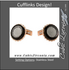 Men's Cufflinks- Rose Gold Immersed Plated Round with Stainless Steel