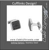 "Men's Cufflinks- Square Stainless Steel Black ""Stamp Style"" Fleur-de-Lis Design"