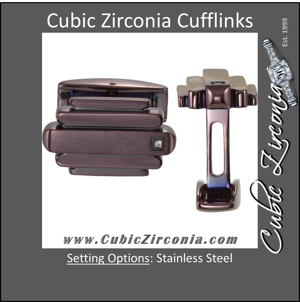 Men's Cufflinks- Stainless Steel with CZ & Brown Immerse Plating
