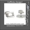 Men's Cufflinks- Stainless Steel with Raised 3D Center