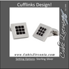 Men's Cufflinks- Stainless Steel with Black Enamel