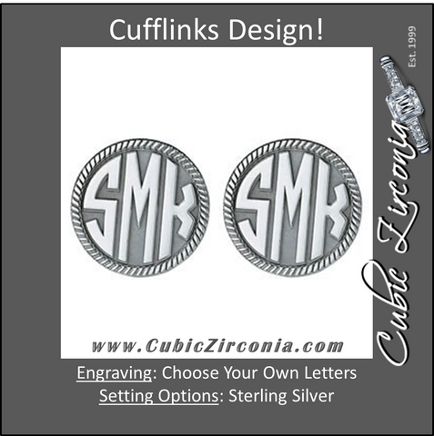 Men's Cufflinks- Customizable Monogram, Circle Style with Angular Carved Relief Letters and Milgrained Edges