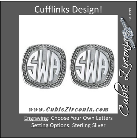 Men's Cufflinks- Customizable Monogram, Badge Style with Impact Letters and Double Milgrain Edges