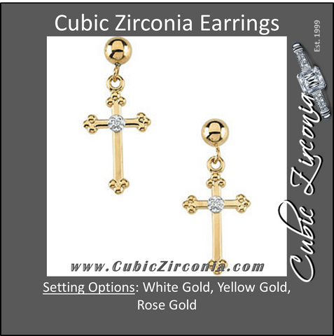 Cubic Zirconia Earrings- .01 CTW CZ Cross Dangle