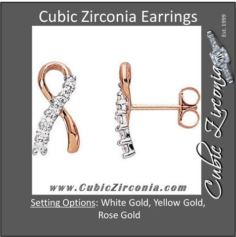 "Cubic Zirconia Earrings- ""Me and My Two Friends"" ® Breast Cancer Awareness"