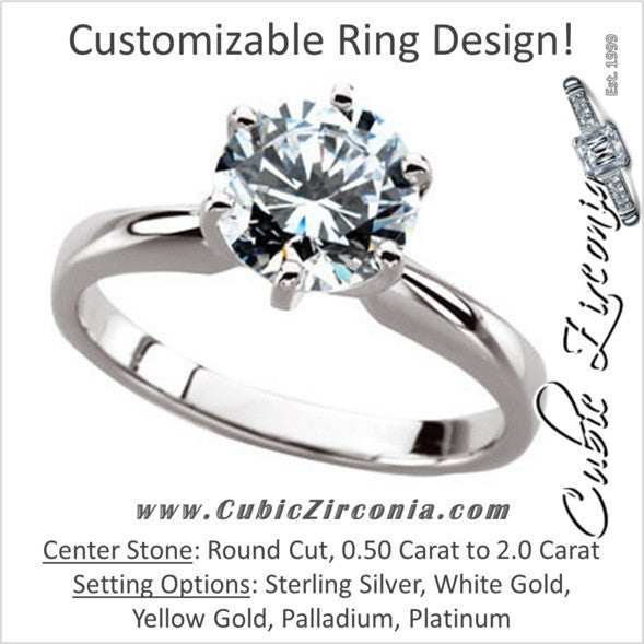 Cubic Zirconia Engagement Ring- The Christin (0.5-2.0 Carat 6-prong Classic Round Solitaire)