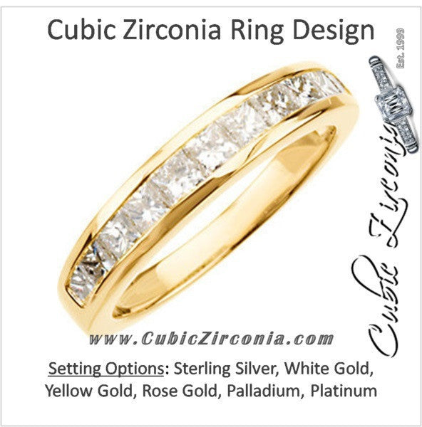 Cubic Zirconia Anniversary Ring Band, Style 05-26 (1.10 TCW Princess Channel)