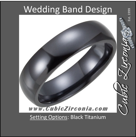 Men's Wedding Band – The Che Guevara Ring (6mm Black Titanium Domed)