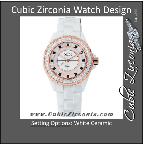 **Cubic Zirconia Watch- Ladies Bigger-Face White Ceramic Couture™ with Rose Gold Immersion Plating