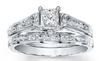 CZ Wedding Set, Style 10-59 feat The Jancy engagement ring (0.5-2.0 CT Princess Center Stone)