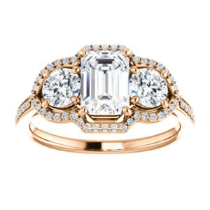 Cubic Zirconia Engagement Ring- The Lizabeth (Customizable Radiant Cut Enhanced 3-stone Style with Tri-Halos & Thin Pavé Band)