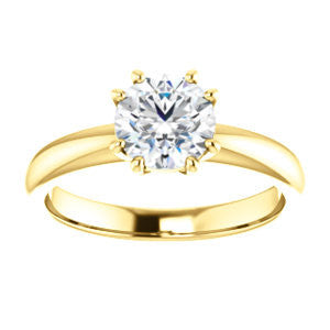 Cubic Zirconia Engagement Ring- The Ziitlaly (Customizable Round Cut Solitaire with High Basket)
