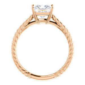 Cubic Zirconia Engagement Ring- The Florence (Customizable Cathedral-set Princess Cut Solitaire with Vintage Braided Metal Band)