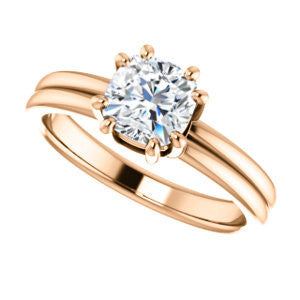 Cubic Zirconia Engagement Ring- The Marnie (Customizable Cushion Cut Solitaire with Grooved Band)