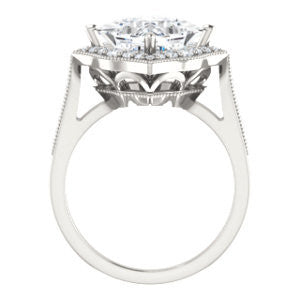 Cubic Zirconia Engagement Ring- The Faida (Customizable Cathedral-set Princess Cut Design with Halo and Milgrained Pavé Band)