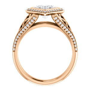 Cubic Zirconia Engagement Ring- The Timothea (Customizable Cathedral-Halo Princess Cut Design with Three-sided Wide Pavé Artisan Band)