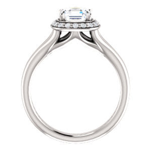 Cubic Zirconia Engagement Ring- The Bebi (Customizable Cathedral-Halo Asscher Cut Design with Wide Split Band)