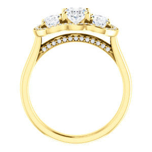 Cubic Zirconia Engagement Ring- The Nettie (Customizable Enhanced 3-stone Halo-Surrounded Design with Oval Cut Center, Dual Oval Cut Accents, and Decorative Pavé-Accented Trellis)