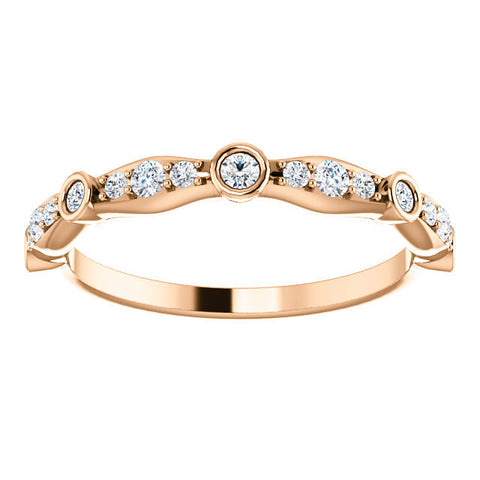 Cubic Zirconia Anniversary Ring Band, Style 12-2248 (0.265 TCW Round Bezel stackable)