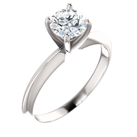 Cubic Zirconia Engagement Ring- The Sonya (4-prong Round Cut Solitaire with Light Band)