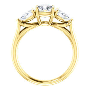 Cubic Zirconia Engagement Ring- The Ila (Customizable 3-stone Design with Cushion Cut Center, Pear Accents and Split Band)