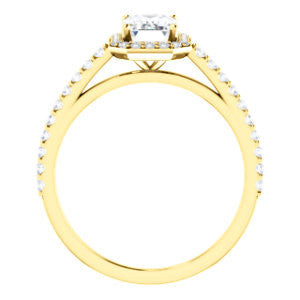 Cubic Zirconia Engagement Ring- The Monique (Customizable Radiant Cut Cathedral-Halo with Thin Pave-Band)