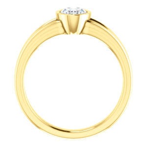 Cubic Zirconia Engagement Ring- The Bernadine (Customizable Bezel-set Oval Cut with V-Split Band)