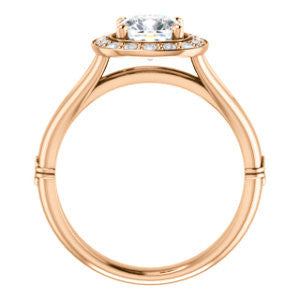 Cubic Zirconia Engagement Ring- The Madison Taylor (Customizable Cushion Cut Halo Design with Split Band and Dual Round Side-Knuckle Accents)