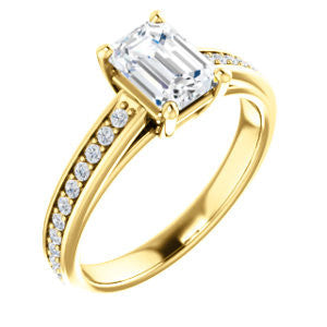 Cubic Zirconia Engagement Ring- The Samantha (Customizable Emerald and Cathedral Channel/Prong Band)