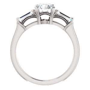 Cubic Zirconia Engagement Ring- The Kimiko (Customizable 3-stone Round Cut Design with Baguette Accents and Thin Wheat-Filigree Band)