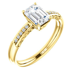 Cubic Zirconia Engagement Ring- The Shantya (Customizable 11-stone Emerald Cut Design with Round Accents & Delicate Filigree)