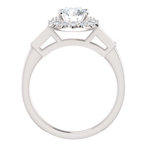 Cubic Zirconia Engagement Ring- The Azariah (Customizable Cathedral Round Cut Design with Halo and Straight Baguettes)