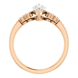 CZ Wedding Set, featuring The Eneroya engagement ring (Customizable Enhanced 5-stone Marquise Cut Design with Thin Pavé Band)