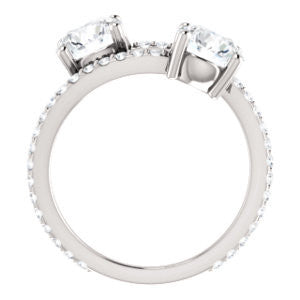 Cubic Zirconia Engagement Ring- The Anniston (Customizable 2-stone Round Cut Design Enhanced by Artisan Split-Pavé Band)