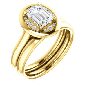 Cubic Zirconia Engagement Ring- The Kajal (Emerald Cut Tapered Faux Bezel Halo)