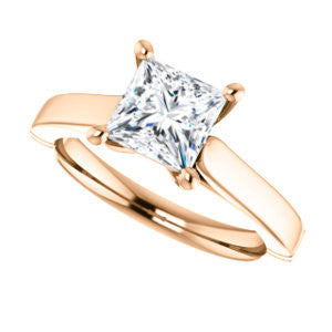 Cubic Zirconia Engagement Ring- The Kaela (Customizable Princess Cut Solitaire with Stackable Band)