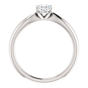 Cubic Zirconia Engagement Ring- The Nyah (Customizable Oval Cut Solitaire with Tapered Bevel Band)