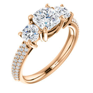 Cubic Zirconia Engagement Ring- The Zuleyma (Customizable Enhanced 3-stone Cushion Cut Design with Triple Pavé Band)