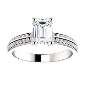 Cubic Zirconia Engagement Ring- *Clearance* The Layla (1.5 Carat Emerald Cut Design with Segmented Double-Pavé Band in Platinum)