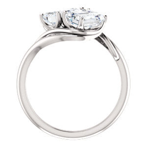 Cubic Zirconia Engagement Ring- The Yuli (Customizable 2-stone Emerald Cut Design with Artisan Bypass Split Band)