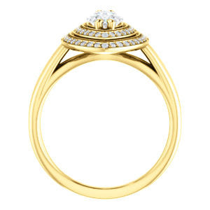 Cubic Zirconia Engagement Ring- The Brielle (Customizable Marquise Cut Cathedral Double-Halo with Curved Split-Band)