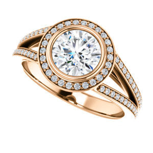 Cubic Zirconia Engagement Ring- The Maritza (Customizable Bezel-Halo Round Cut Style with Pavé Split Band & Euro Shank)