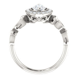Cubic Zirconia Engagement Ring- The Deb (Customizable Marquise Cut Design with Large Halo, Fleur-de-lis Trellis and Bubbled Infinity Band)