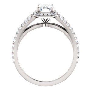 Cubic Zirconia Engagement Ring- The Azul (Customizable Radiant Cut Style with Cathedral-Halo and Split-Pavé Band)