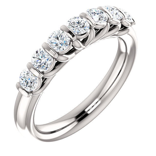 Cubic Zirconia Anniversary Ring Band, Style 122-615 (Customizable Round Cut)
