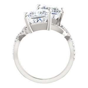Cubic Zirconia Engagement Ring- The Harleigh (Customizable 2-stone Princess Cut Artisan Style With Twisting Split-Pavé Band)